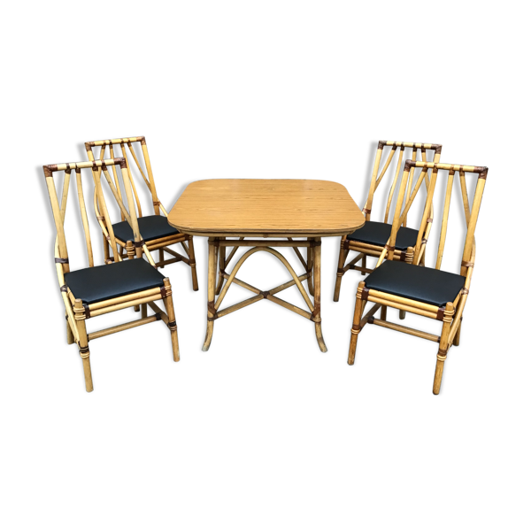 Selency Ensemble table 4 chaises bambou vintage 1960