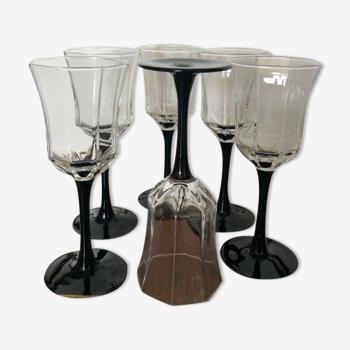 Lot de 6 coupes à champagne Arcopal géométriques pied noir publicité Esso France