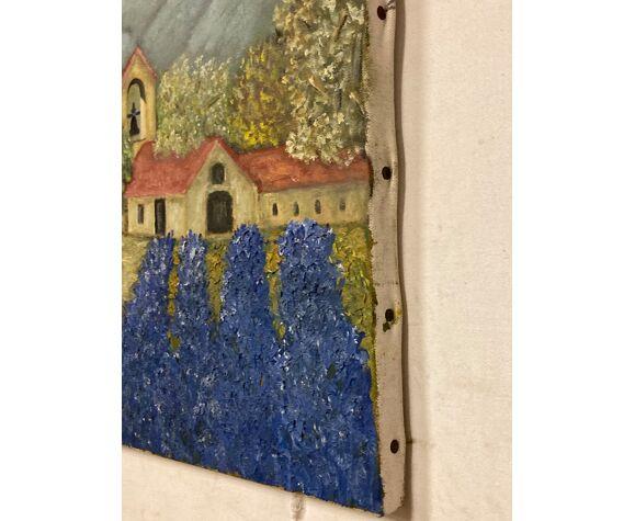 Huile sur toile «clocher»