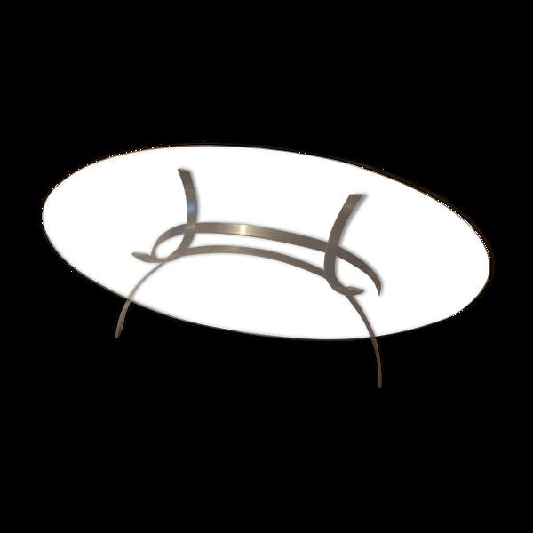 Selency Table ovale en acier chromé et verre fumé