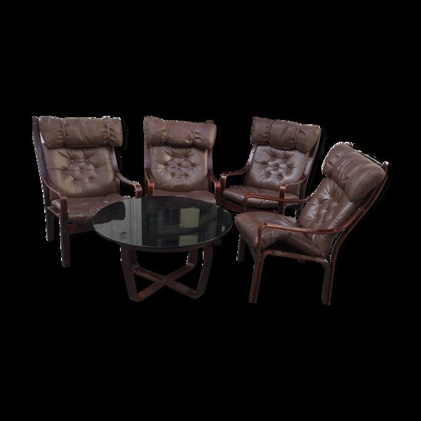 Ensemble 4 fauteuils cuir et une table basse