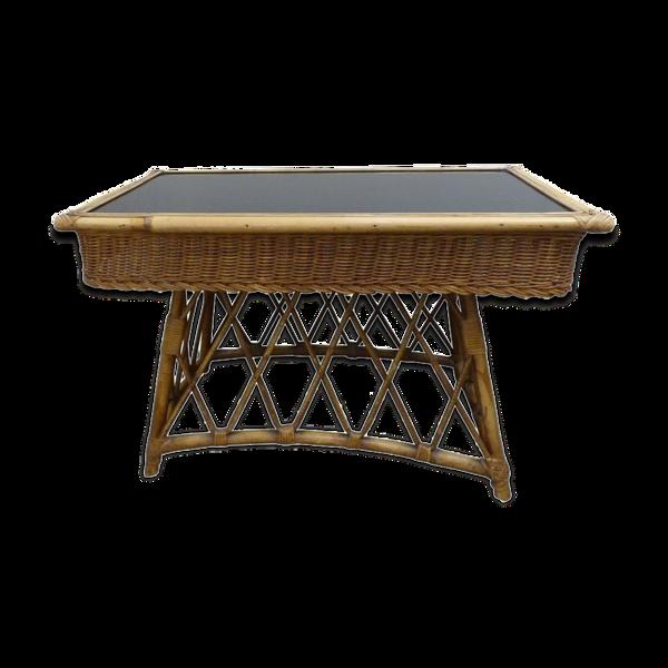 Table d'appoint en osier et verre noir