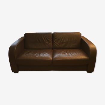 Canapé convertible simili cuir grainé Graine d'Intérieur