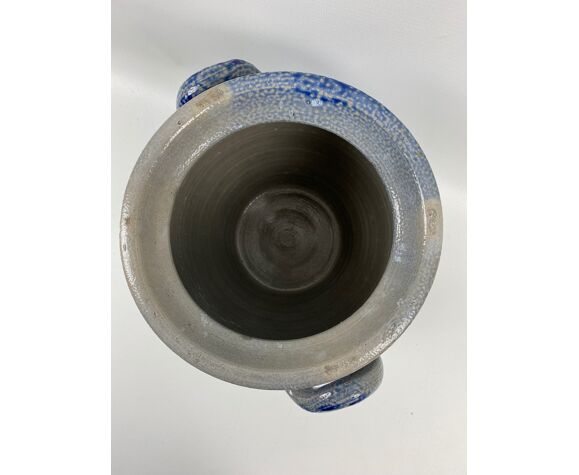 Sandstone pot grey and blue 2 handles