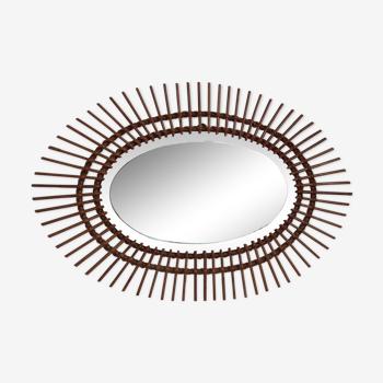 Miroir biseauté ovale vintage en rotin 95.5 cm X 65 cm