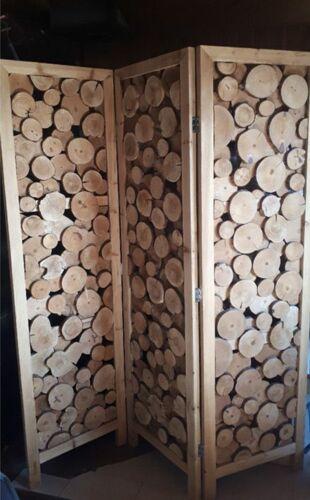 Paravent en rondelles de bois d'un créateur tbe