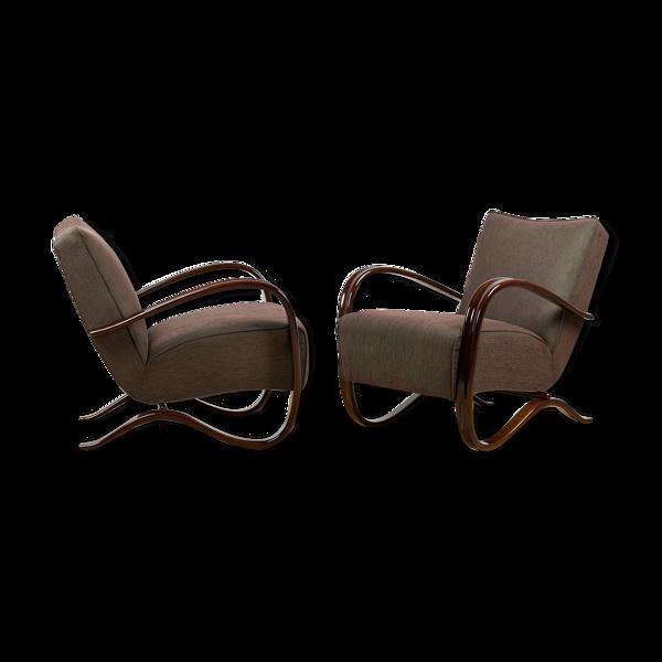 Ensemble de 2 fauteuils H-269 de Jindrich Halabala années 40