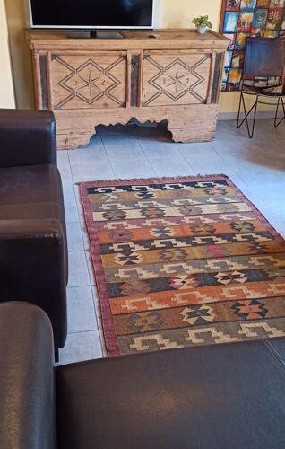 Tapis Kilim en coton et toile de jute 120x190cm