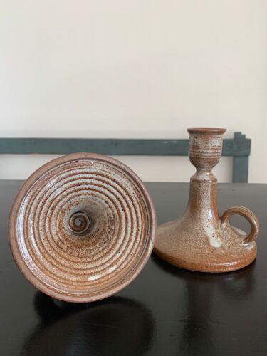 Paire bougeoirs en céramique vintage
