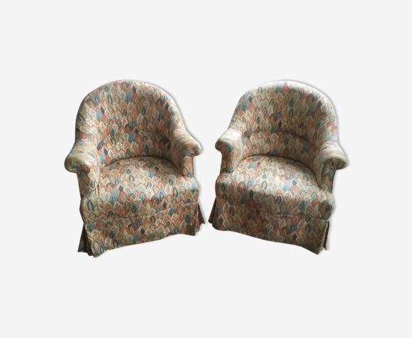 Paire de fauteuils vintage, motif paisley