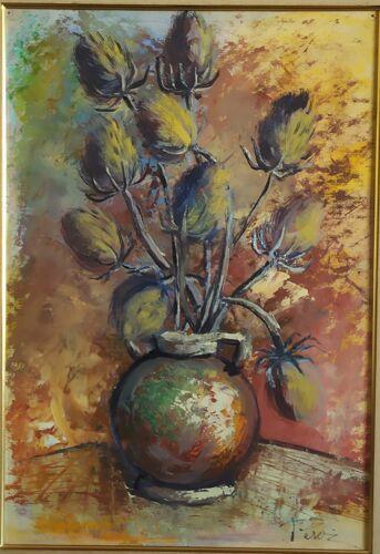 Huile sur panneau d'un bouquet de chardon