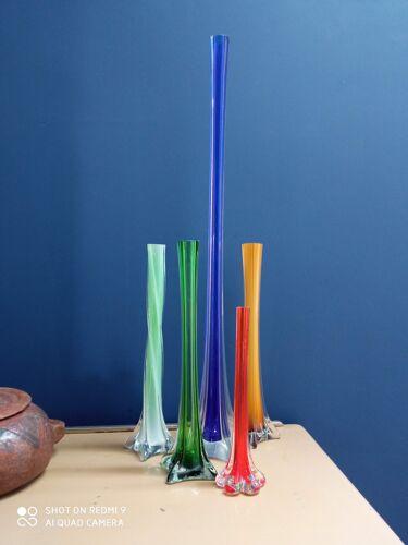 Soliflore en verre teinté ancien