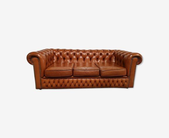 Canapé chesterfield cuir marron clair