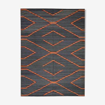 Modern geometric blue kilim rug handwoven flatwoven wool area rug- 122x183cm