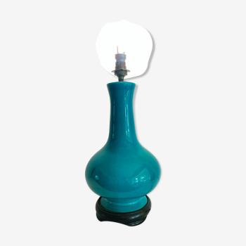 Pied de lampe vase chinois turquoise craquelé