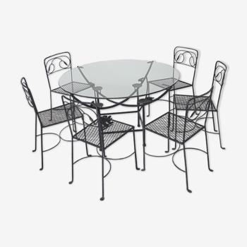 Table ronde en fer forgé avec 6 chaises