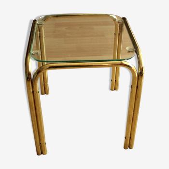 Table d'appoint en laiton et verre, stand de plantes, vintage des années 1970