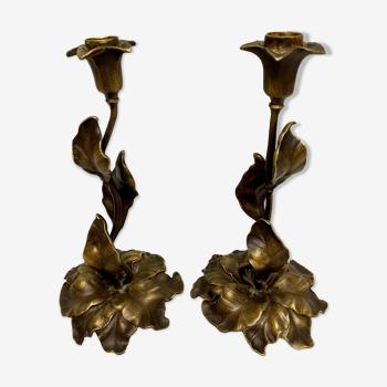 Paire de bougeoirs en bronze d'époque art nouveau 1900