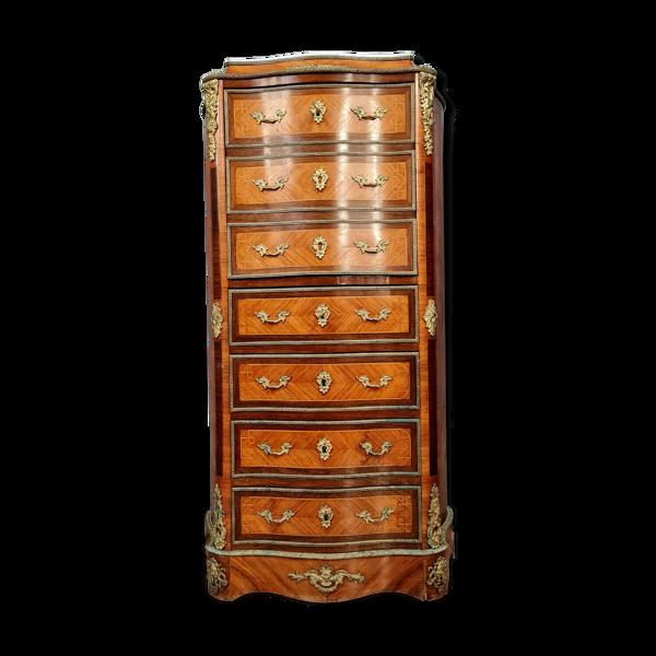 Secrétaire de Dame galbé époque Napoléon III en marqueterie de bois nobles