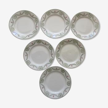 Set de 6 assiettes a decor floral et guirlande faiencerie de luneville