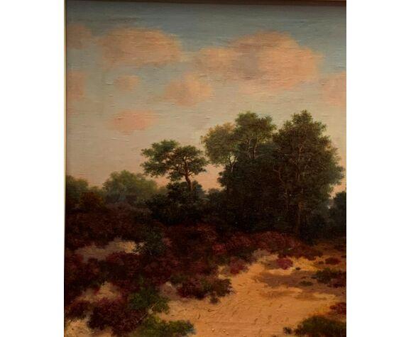 "Tableau ancien ""Paysage forestier"""