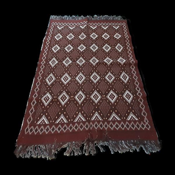 Tapis kilim marocain, tapis marron Berbère en laine fait à la main 180/125cm
