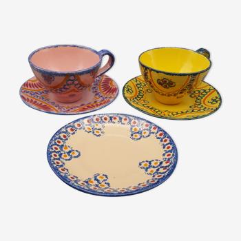Ensemble tasses et soucoupes henriot quimper