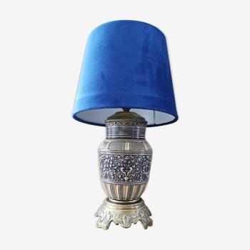Lampe de chevet ancienne faience et laiton