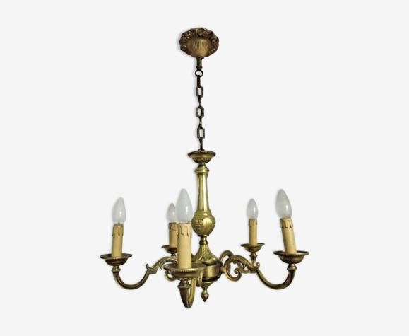 Lustre décoratif avec bras défilés français vintage quality brass 5 arm