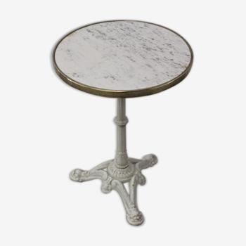 Guéridon de bistrot en marbre et fonte