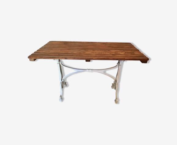 Vintage bistro table base white cast iron