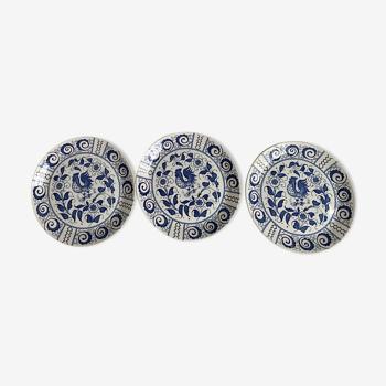 Johnson Brothers Chanticleer bleu et blanc ensemble de 3 assiettes