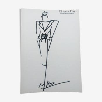 Christian Dior: pretty press fashion illustration - spring-summer 1983 collection