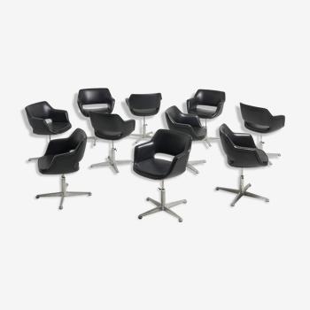 Chaises de conférence pivotante en cuir noir - Années 1960