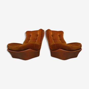 Pair of armchairs in imitation cognac leather and velvet model Orsay by Beka