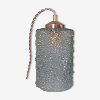 Baladeuse vintage à poser ou à suspendre avec abat-jour en verre bullé