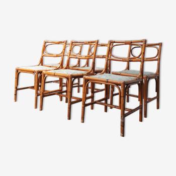 Set de 6 chaises en rotin années 70