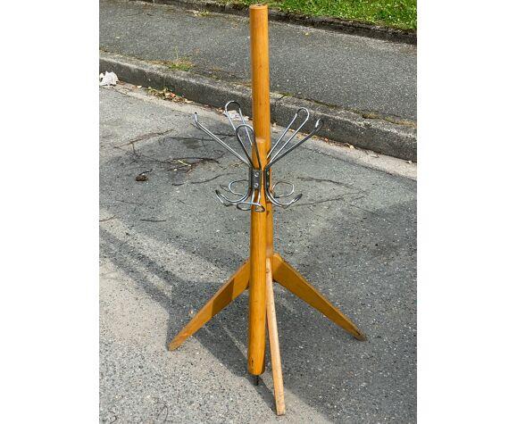 Porte manteau sur pied bois et acier
