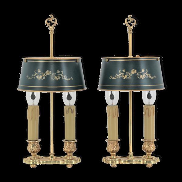 Lampes bouilotte en bronze doré de style Louis XV