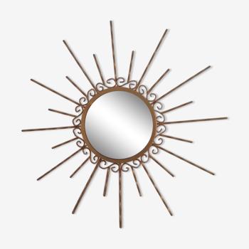 Miroir Soleil. Vintage . Métal doré