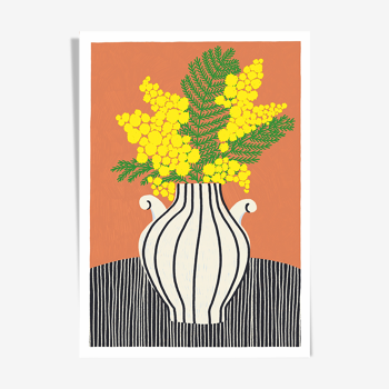 "Illustration ""Le mimosa"" A4"
