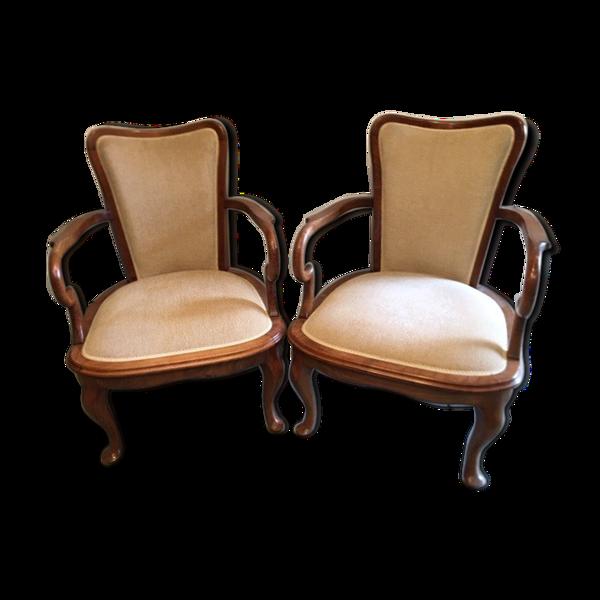 Paire de fauteuils Anglais Chippendale tissus chiné Ivoire