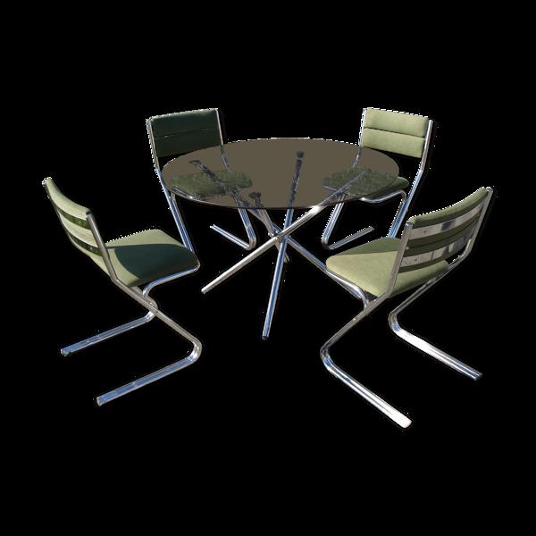 Ensemble table et 4 chaises vintage 1970s