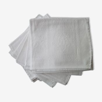 Set de 6 serviettes de table en coton damassé blanc