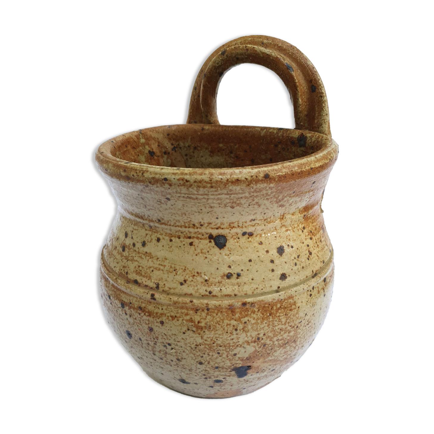 Pot a fleurs en grès pyrité signé Baudat