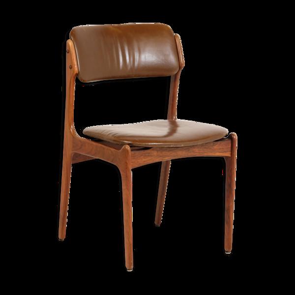 Chaise palissandre et cuir par Erik Buch pour Oddense Maskinsnedkeri 1960