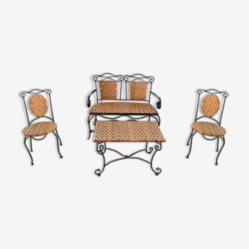 Ensemble salon  de jardin vintage canapé fer forgé et osier, chaises & table basse vintage 1980