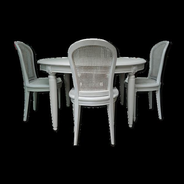 Selency Table art deco rallonge campagne avec chaises gris libéron 1900 XIX 1930 art deco