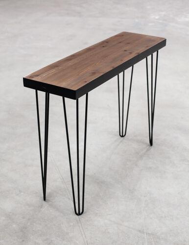 Console en bois massif sur pieds épingles noir