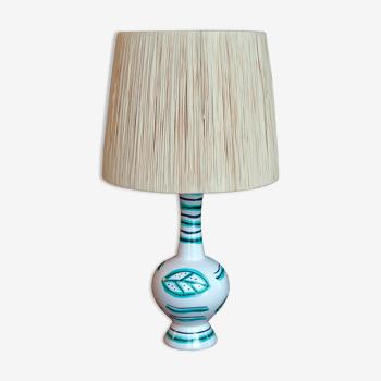 Lampe en céramique blanche abat jour en raphia années 60